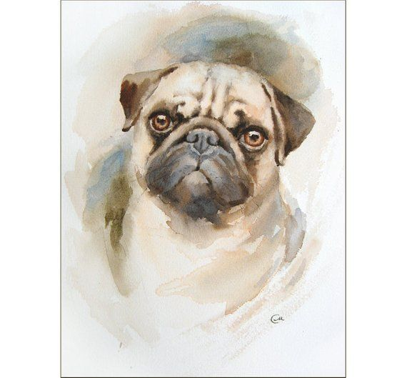 Watercolor Pug Portrait Original Painting 9x12 Inches Dog Pets