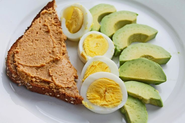 Healthy breakfast idea: Whole Wheat Toast with All-Natural Peanut Butter, Hard Boiled Eggs and Avocado Slices (from Clean Eating Weight Loss Meal Plan 100) | Click pin for more clean eating ideas and healthy meal suggestions | #cleaneating #eatclean #healthyeating
