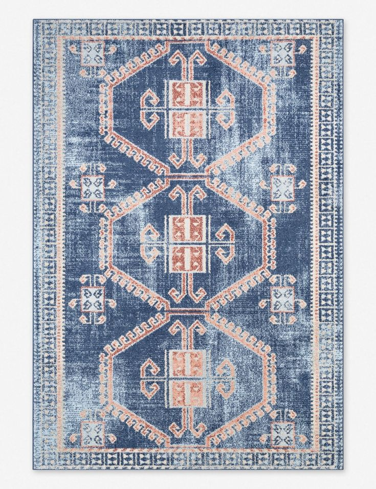 Our 1 Rule For Picking The Perfect Rug Don T Be Afraid Of A Little Color This Traditional Style Rug Brings Eclecti Navy And White Rug Navy Area Rug Navy Rug