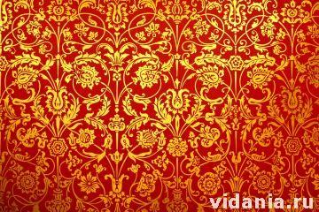 Интерьер дворца царя Алексея Михайловича в Коломенском. Столовая палата. Настенные росписи.