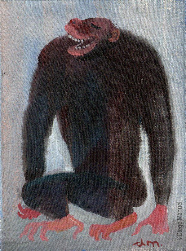 Painting titled gorilla laughing in Sale, of the artist Diego Manuel. Pintura titulada gorila que rie en venta, del artista Diego Manuel