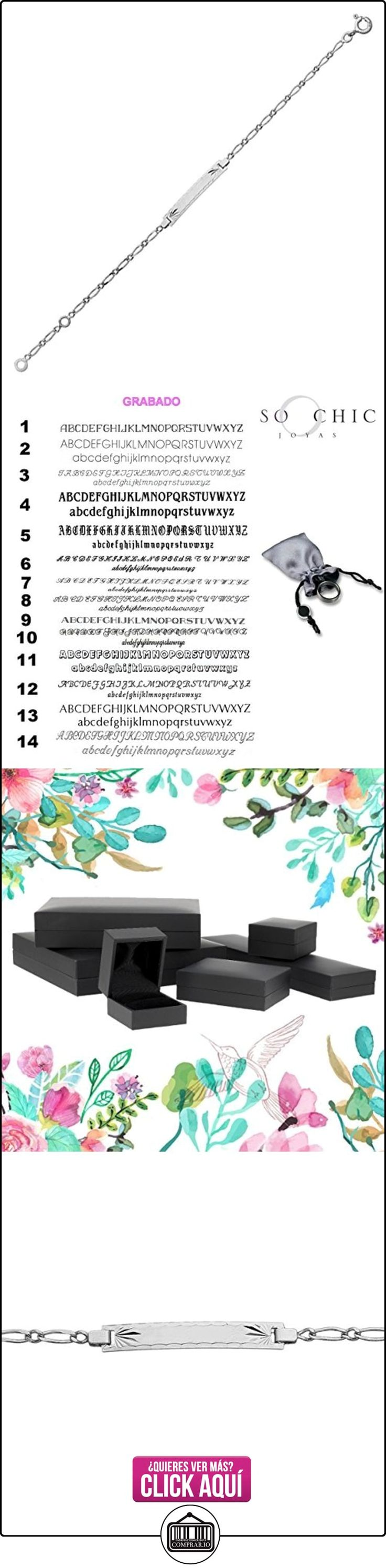 So Chic Joyas - Pulsera de Identidad Niños 14 cm - Oro Blanco 375/000 (9 Kilates) 1,55gr - Placa Rectángulo Malla Gourmette Caballo Alternada 1.1 - Personalizado : Grabado gratis  ✿ Joyas para niñas - Regalos ✿ ▬► Ver oferta: http://comprar.io/goto/B00K0G4MU8