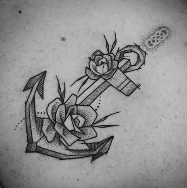 Dotwork Floral Anchor Tattoo by Ben Doukakis