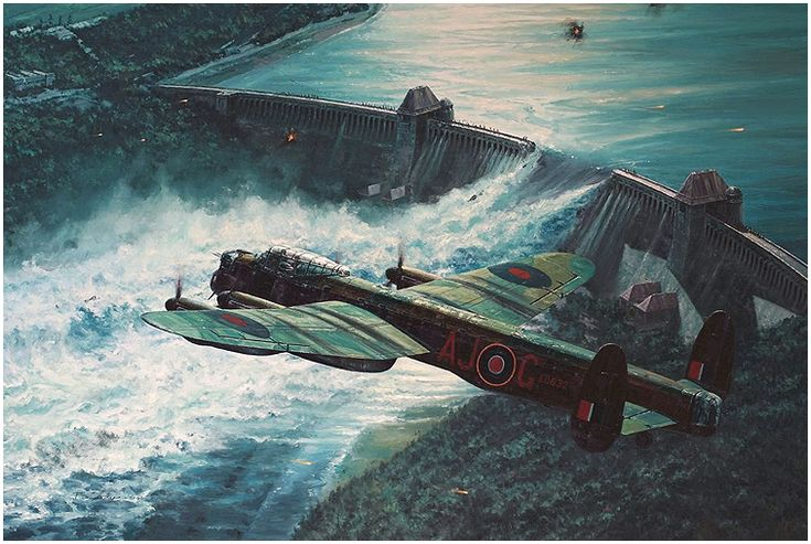 """Low Pass Over the Möhne Dam"" by Anthony Saunders ::: The famous 'Dams Raid' of 16/17 May 1943 was one of the most audacious and successful bombing missions of the war. Lancasters of 617 squadron lead by Wing Commander Guy Gibson were given the task of destroying three major dams in the Ruhr valley."