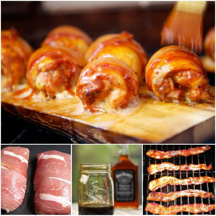 Bacon wrapped chicken with a sticky Jack Daniels Barbecue Sauce