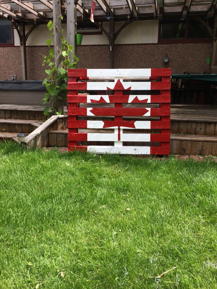 Our Canadian flag we made out of a pallet