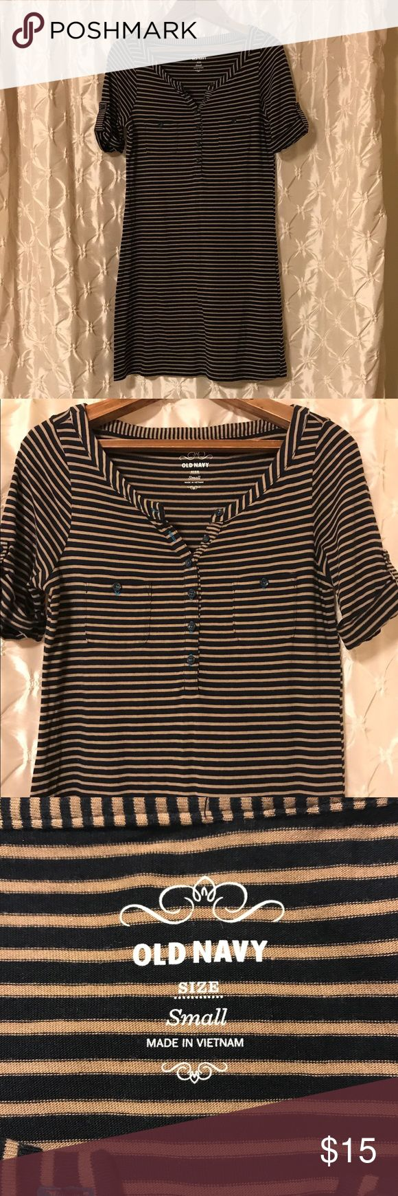 "Old Navy striped dress You're looking at a like new Old Navy dress in size small. Dark tan and navy striped, with cuffed sleeves and Henley collar. Cute bright blue accent stitching for buttons. Adorable!  Measurements Laying flat- length 32.5"", pit to pit 16.5"".   ♥️offers! ♥️bundles!! Old Navy Dresses"