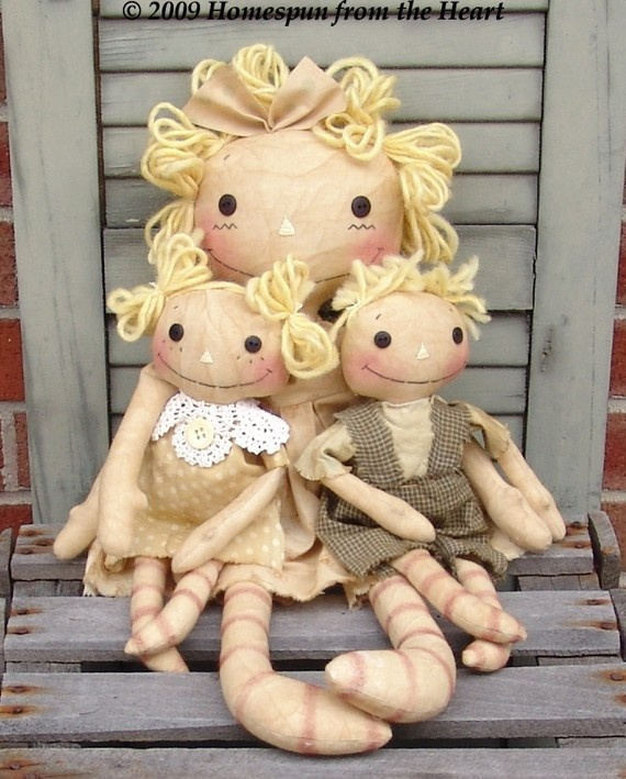 Mother's Love mom and kids Raggedy Doll EPattern by CupcakeDolls, $5.50