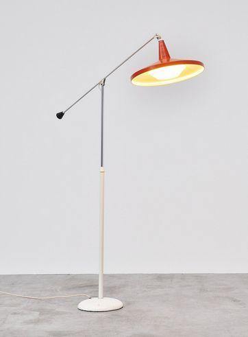 Wim Rietveld; #6350 Enameled and Chromed Metal 'Panama' Floor Lamp for Gispen, 1965.