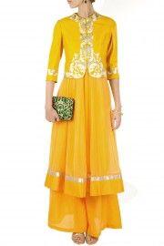 Yellow kurta set with jacket
