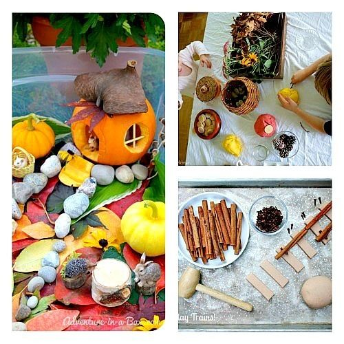 pretend play fall sensory play