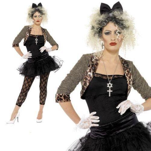 80s Pop Star Madonna Costume Wild Child Ladies Fancy Dress costume Size 12 to 22 #Smiffys #JacketTopTutuLeggingsGlovesHeadband