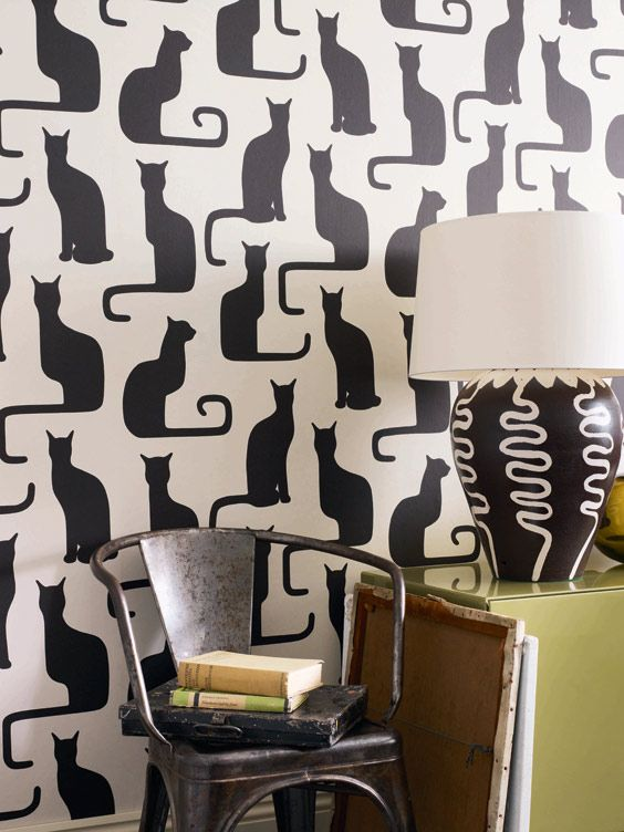 Want.  Omega Cats print wallpaper from the Bloomsbury Canvas Collection at Sanderson.