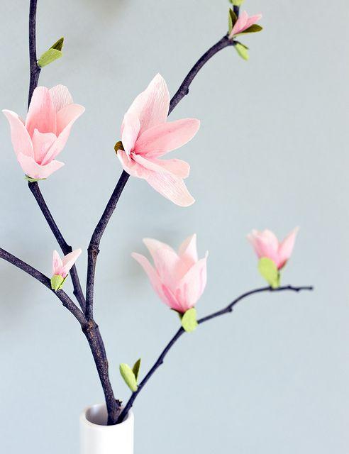 DIY Paper Magnolia Blossoms by Vitamini, via Flickr
