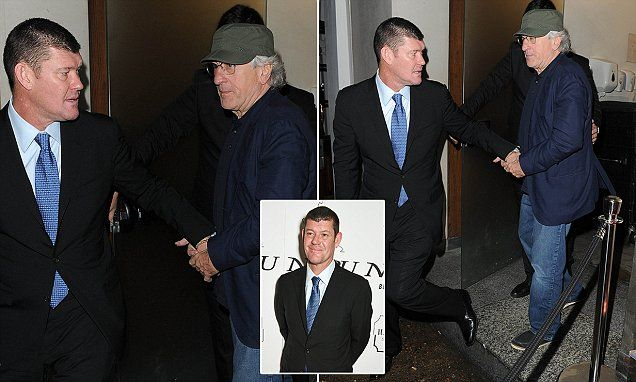 James Packer and Robert De Niro hold hands as they leave Nobu