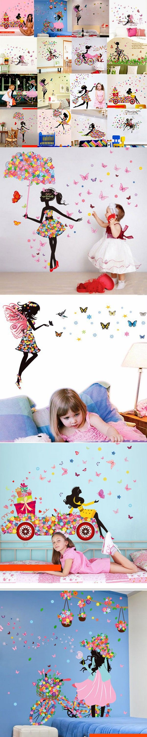 best 25 wall stickers for kids ideas on pinterest army room very nice butterfly elf and cute girl art poster wall stickers for kids room home decor bedroom living room fashion wall sticker