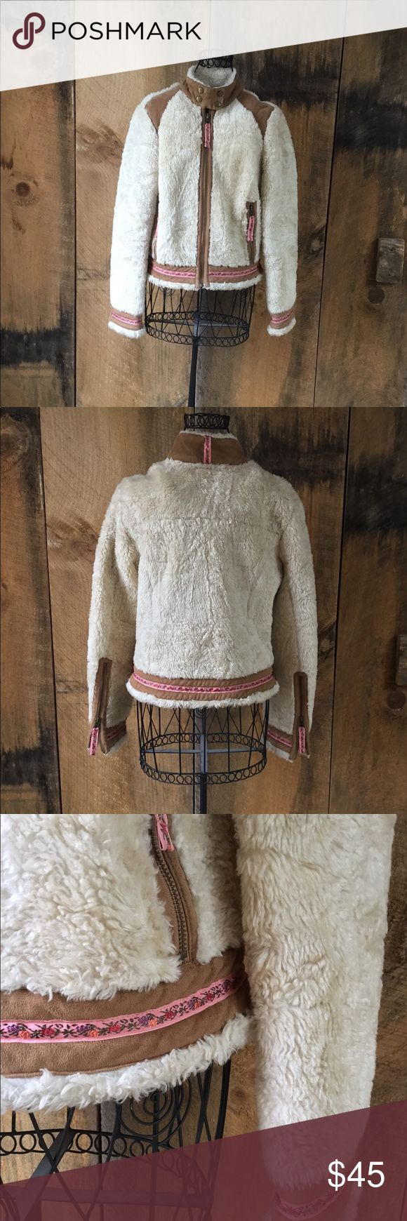 Free People Shag Faux Shearling Coat Free People sherpa shag coat. Beautiful ivory shag with tan faux shearling. Light pink embroidery details. Zip front. Women's size XS  ALL SALES ARE FINAL. PLEASE ASK ANY QUESTIONS PRIOR TO PURCHASING. Free People Jackets & Coats