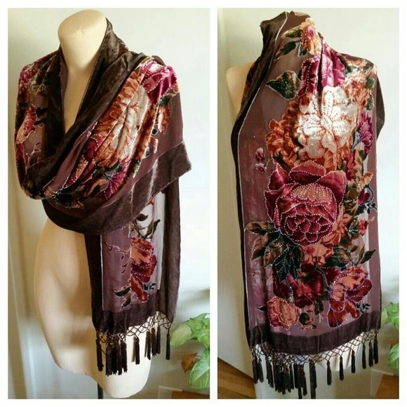 Vintage Velvet Beaded Fringe Tassle Shawl Boho This thing is incredible.  The pattern is of beaded roses and starts with a darker hue on one end and gradually gets lighter towards the other side (like an ombre). The tassels are also heavily beaded and in amazing condition, no parts missing anywhere. It has a very small dark circular mark near one of the ends that is smaller than a dime; it isn't easily noticeable when worn, you'd have to look to find it. 30% Silk 70% Rayon.  Available on…