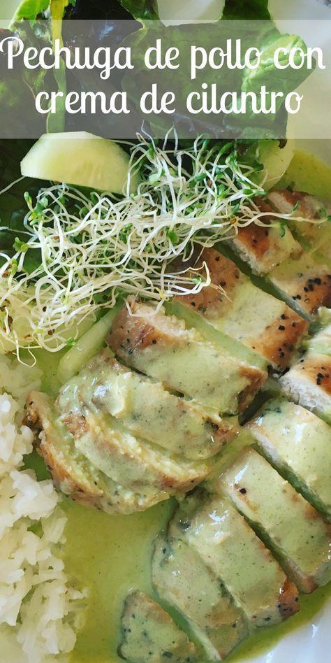 Pechugas de pollo bañadas en una irresistible crema de cilantro, acompañas con arroz al vapor y ensalada verde.