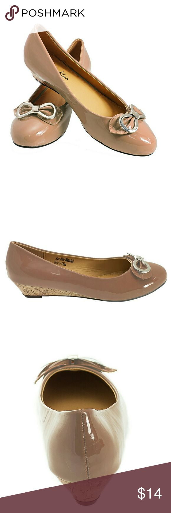 "Tory Klein Women Bow Wedge Pumps, b-1350, Beige Brand new glossy Tory K woman ballerina pumps with a silvery metal Moebius strip over the bow in the front. Soft sole. Small comfortable 1 inch wedge and ribbed bottom sole for extra traction. A true statement in ladies shoes fashion!  Larger sizes run small! Measurements: size 9 measures 10 inches, all half sizes are in 1/4"" increments of each other. Tory K  Shoes Flats & Loafers"