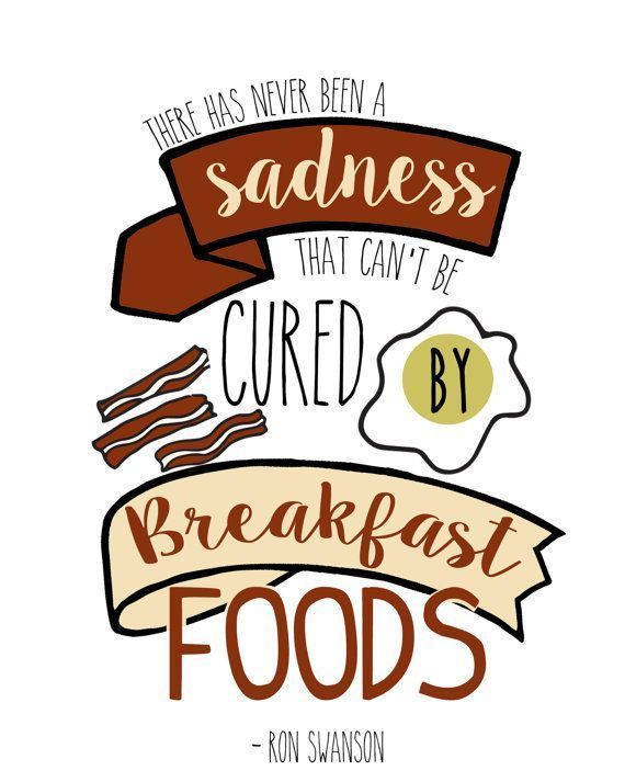 Ron Swanson sadness cured by breakfast food Parks And