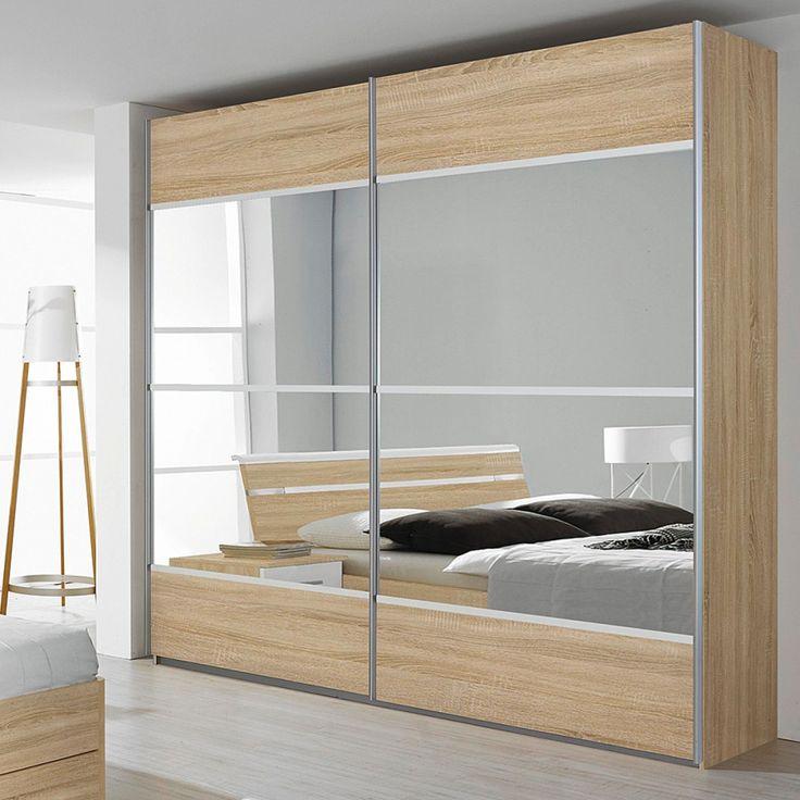 Armoire à portes coulissantes Rasa - Imitation chêne de Sonoma / Blanc alpin Avec miroir