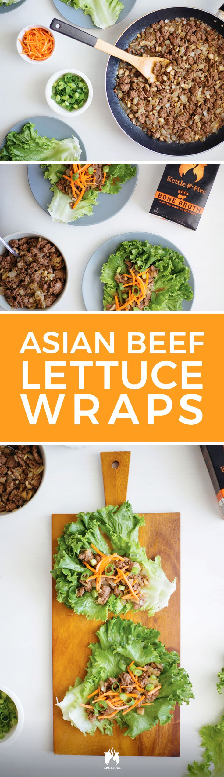 Refreshing lettuce wraps with a savory filling packed with flavor and nutrients from simmering in Kettle & Fire beef bone broth! It only takes 30 minutes.