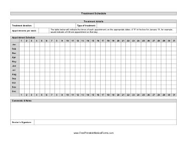 A printable treatment schedule to track and plan for medical treatments. Free to download and print