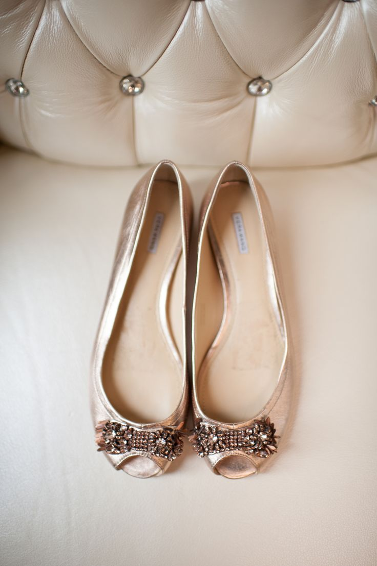 Jeweled Champagne Bridal Flats
