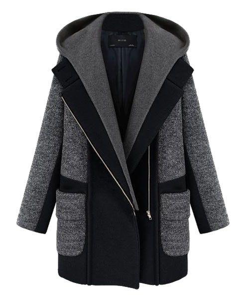 Casual Color Block Double Pockets Hooded Coat - Jackets & Coats - Clothing