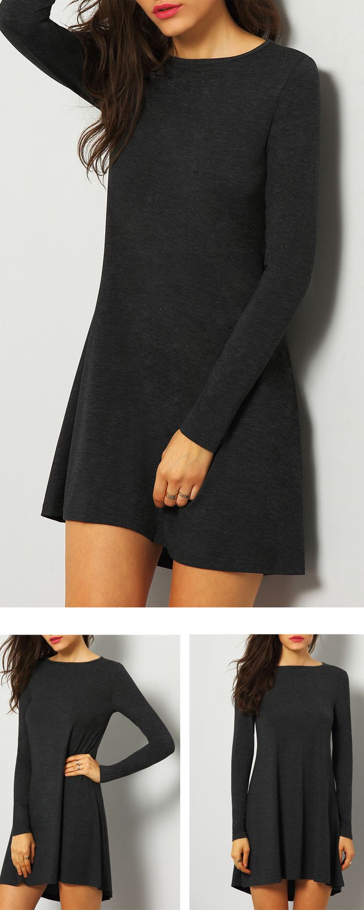 Minimalist and classic : Grey Long Sleeve  Simple  Casual Dress. Basic loose shift plain fall jersey Tshirt dress from shein  .