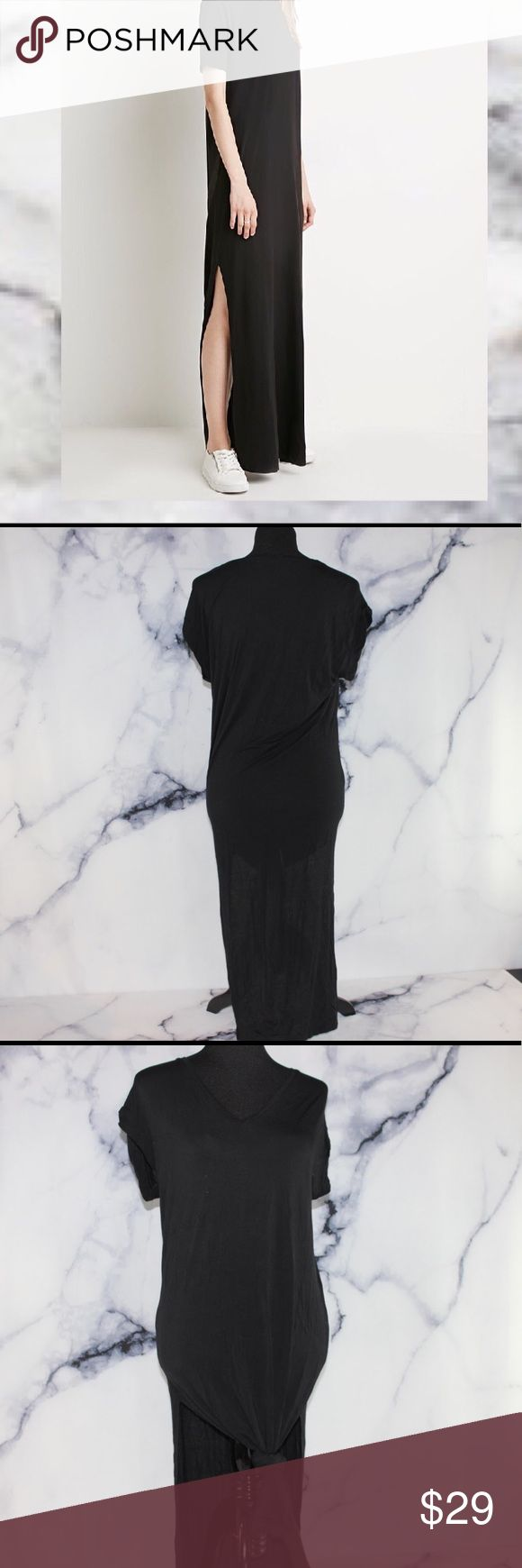 Zara V Neck T Shirt Dress Dual Slits S Condition: USED Stretch: MODERATE Piling or Flaws:  N/A 🖤I accept only serious offers of over 50% of my asking price🖤 Zara Dresses Maxi