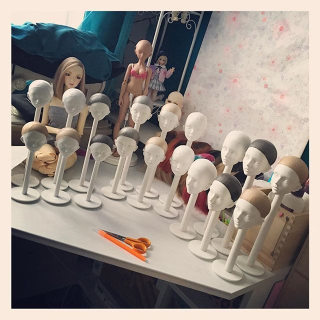 """Wig caps complete ^_______^ 6x7"""", 6x8"""" and 6x8.5"""" #bjd #bjdwig #wigcapfactory…"""