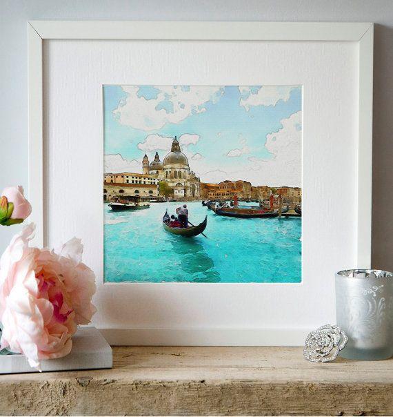 Romantic Venice Gondolas Watercolor Digital by Artsyndrome on Etsy