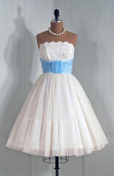 1950's Vintage Angelic Crisp-White Strapless Shelf-Bust Lace and Chiffon Couture Baby-Blue CummerbundWedding Parties, Wedding Dressses, Cocktails Dresses, Style, 1950S, Blue, Clothing, Vintage, Cocktail Dresses