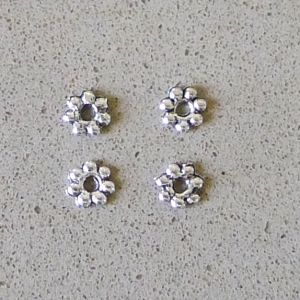 Flower Spacer, Silver, 5mm, 500pc