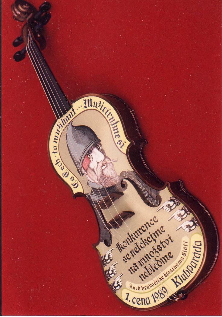 painted violin 1 Annual Awards Czechoslovak television in a music competition. Author: Mirka Věrčáková