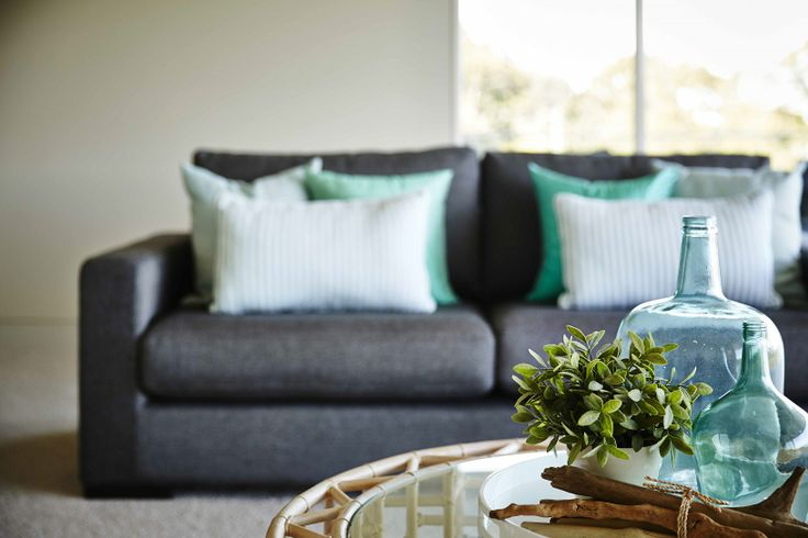We added tranquil hues of aqua and blue to this Seaforth living room, creating a breezy, calming space.