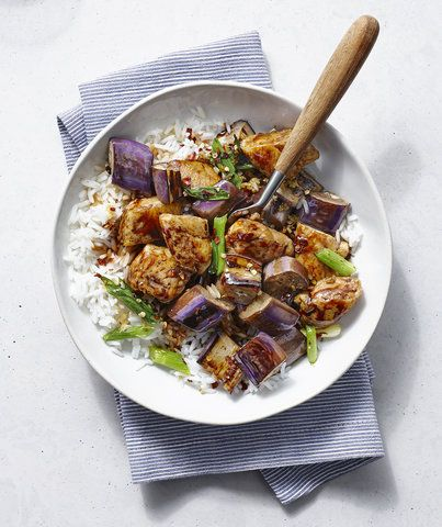 Spicy Chicken and Eggplant Stir-Fry | RealSimple.com