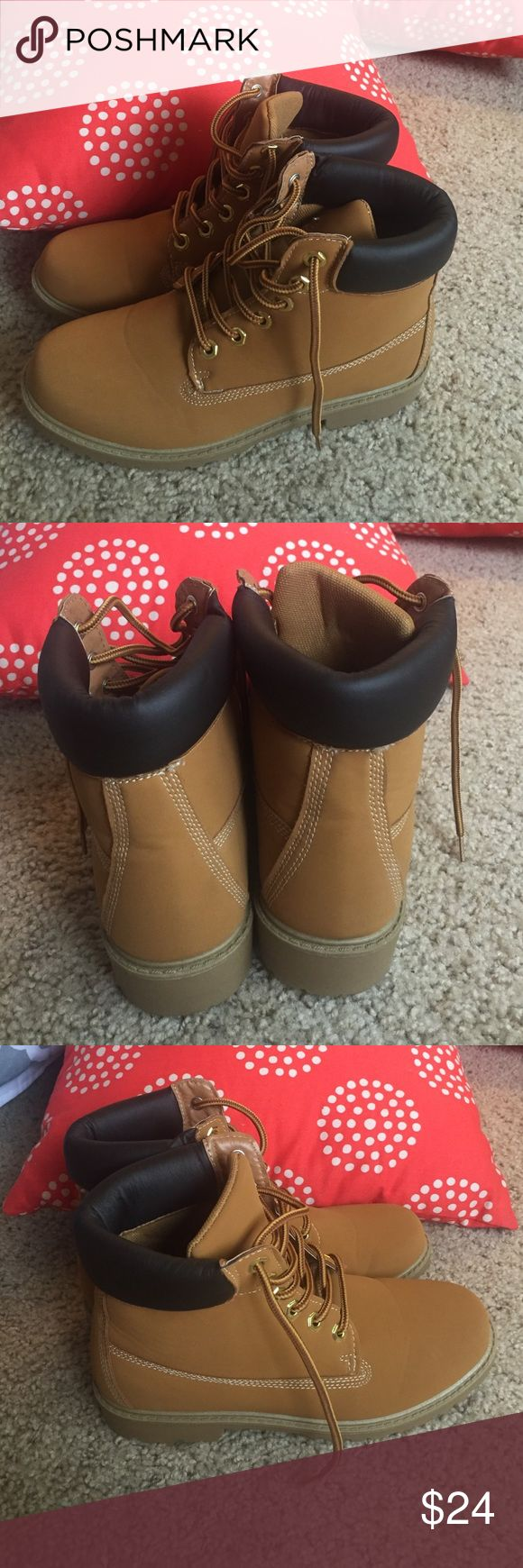 Fake timberland boots Fake timberland boots. Not authentic. Super good condition. Worn one time. Look brand new. Shoes