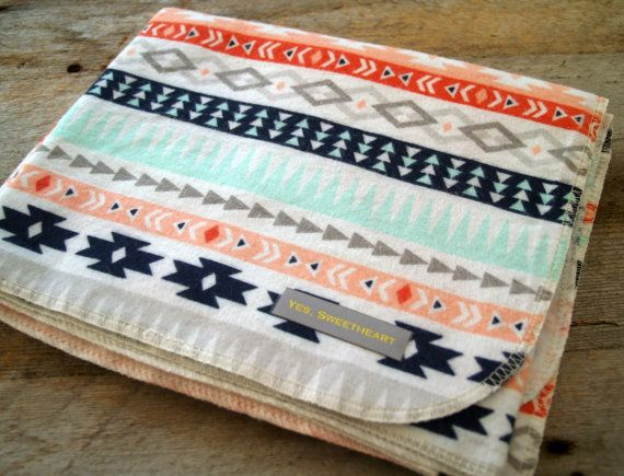 Extra Large Aztec Flannel Baby Receiving Blanket-Modern-Ikat-Baby Shower Gift-Swaddle Blanket-Baby Blanket-Mint-Coral-Gray-Navy-Nursery
