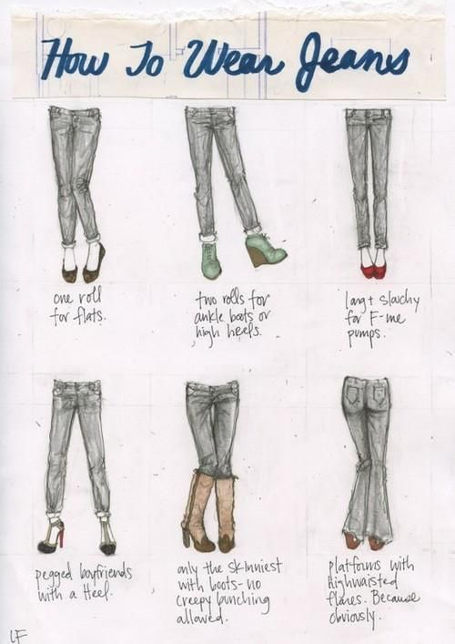 How to Wear Jeans: A Mini-Saia Jeans, Idea, Jeans Style, Wear Jeans, Shoes Pairings, Outfit, Cheat Sheet, Closet, Howto