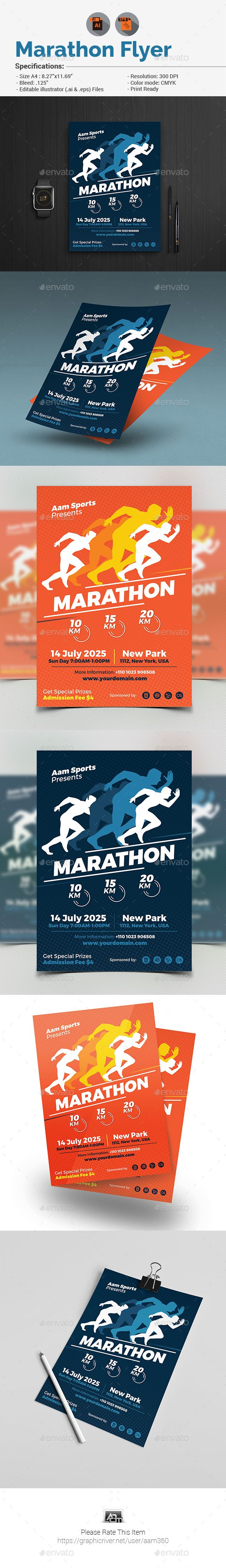 "Marathon Event Flyer by aam360 INFORMATIONS FOR THIS FLYER:FEATURES:Size 8.27""x11.69""Bleed: .25""Two Color Variations Fully editable Illustrator AI & EPS file Fil"
