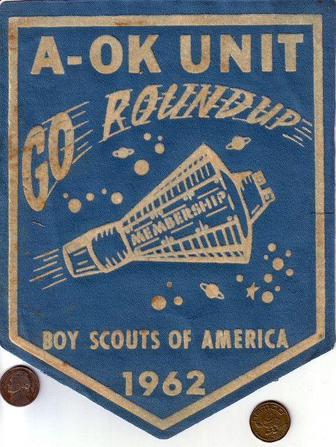 Giant Space-Themed Boy Scout Patch, 1962 by Devlin Thompson, via FlickrCovers Book, Giants Spaces Them, Ui Design, Spaces Them Boys, Scouts Patches, Devlin Thompson, Boys Scouts, Graphics Design Posters, Book Covers