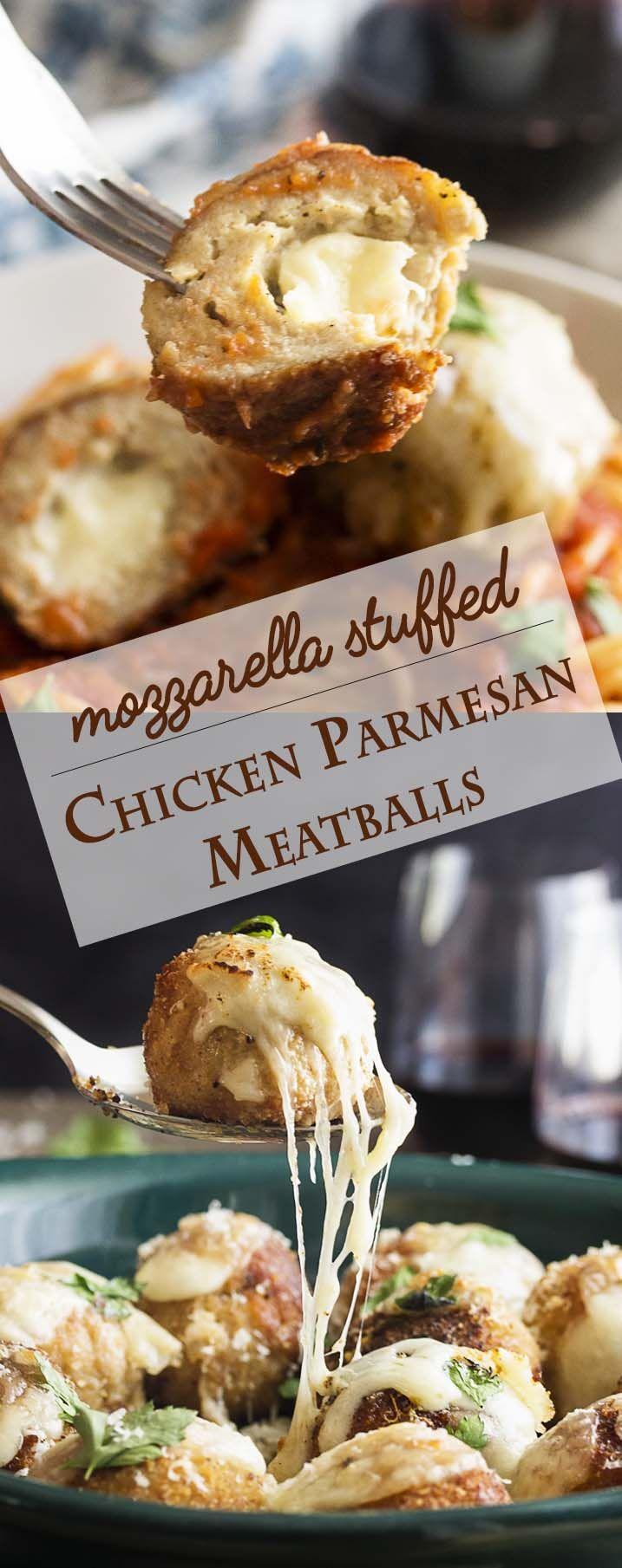 Crispy, mozzarella stuffed and juicy! These chicken parmesan meatballs are full of gooey mozzarella and rolled in breadcrumbs to make a crispy crust. Serve with marinara sauce and pasta. | justalittlebitofbacon.com