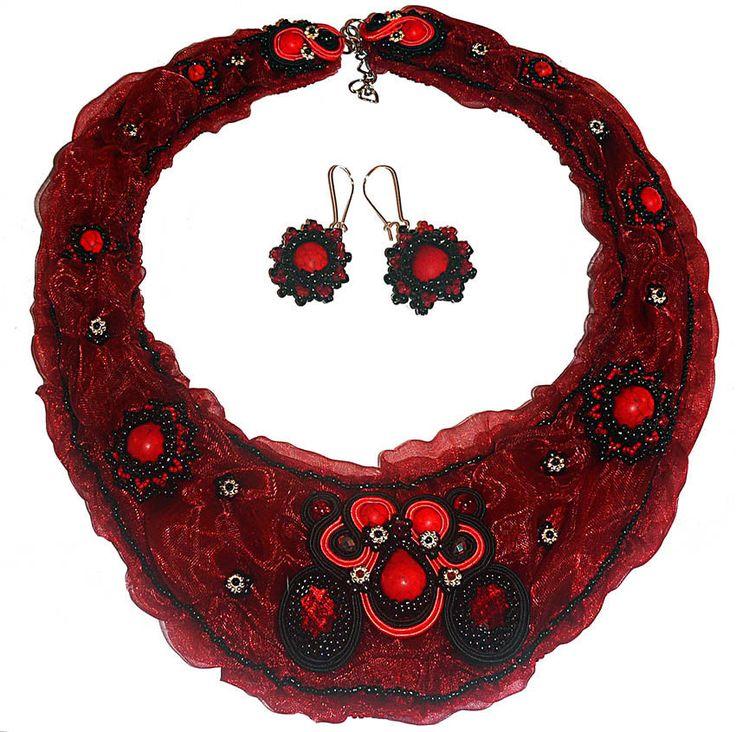 Handmade soutache earrings+ necklace, jewelry set, komplet sutasz - Fierydust   eBay