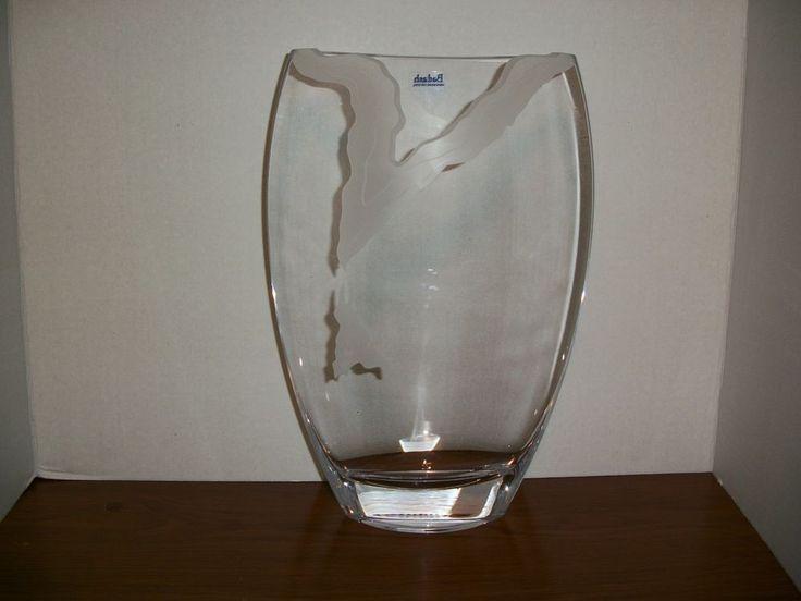 Large Badash Handmade European Style Crystal Vase w/Frosted Etch Design #Badash