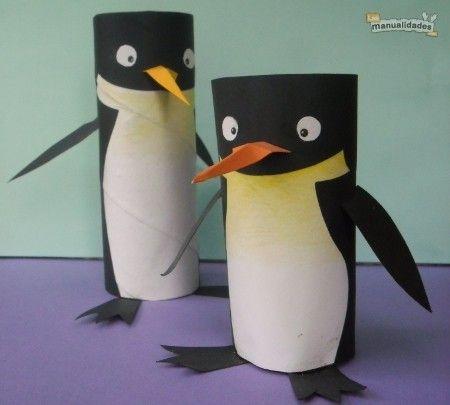 reuso de tubos de cartón. Pingüinos