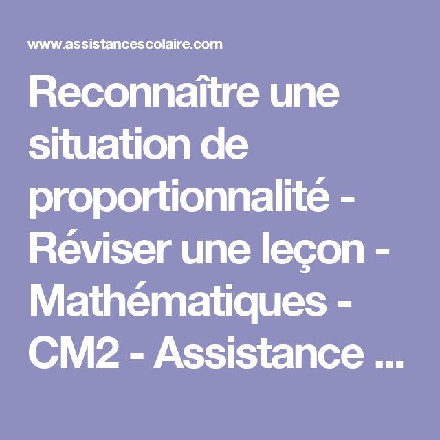Reconnaître une situation de proportionnalité - Réviser une leçon - Mathématiques - CM2 - Assistance scolaire personnalisée et gratuite - ASP