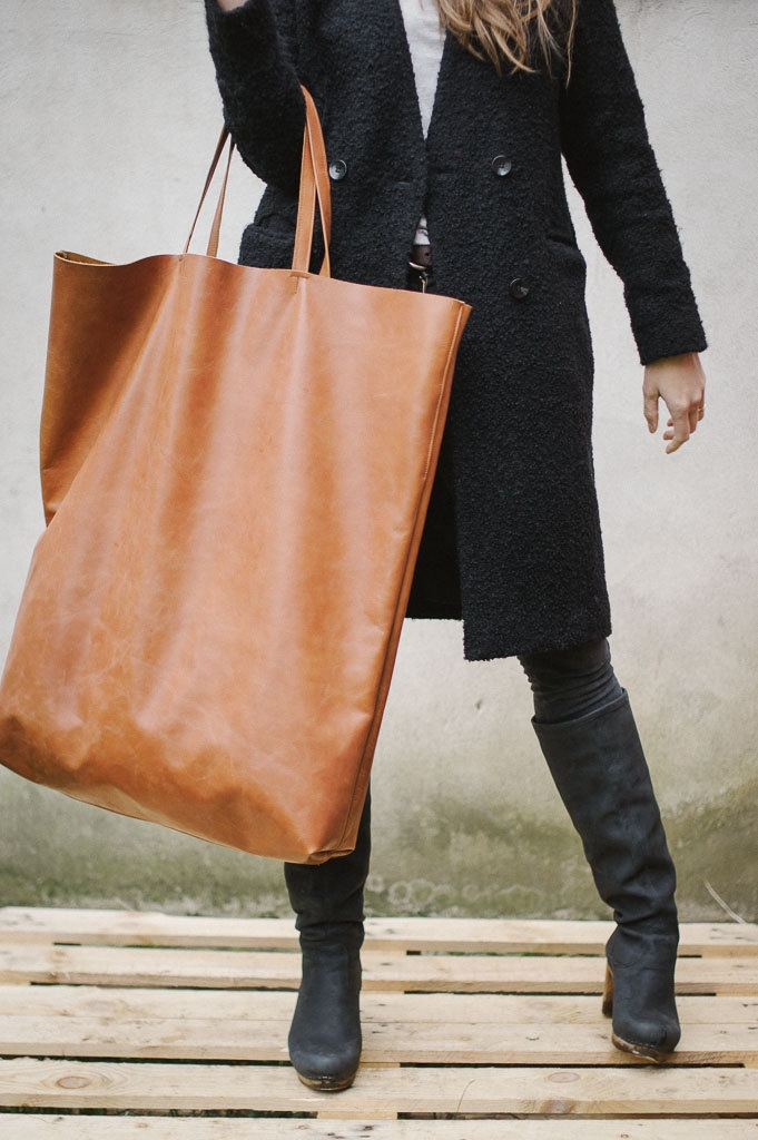 "Brown Leather Tote Bag, Oversized. LUV THIS! You could fit a ""small child"" in it...but I would rather fill it with Running clothes! :)"